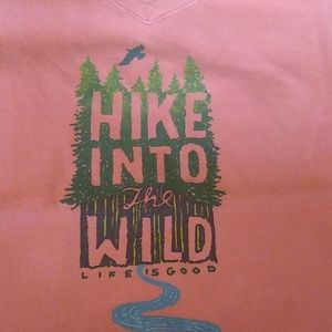 Life Is Good Tops - Women's Sz Sm T-shirt Hike Into the Wild Coral